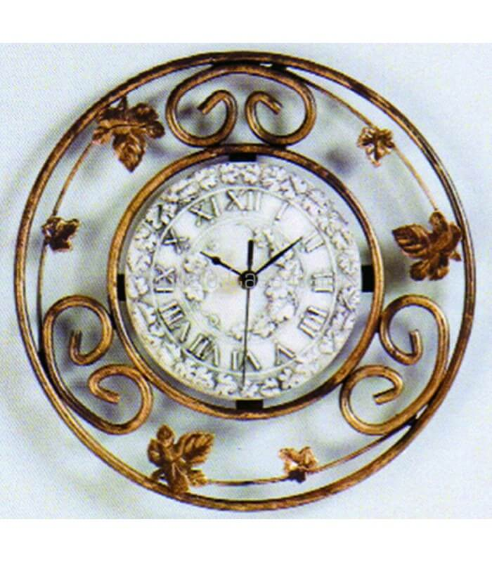 Orologio da Parete Tondo Decorato con Edera in Ferro Battuto