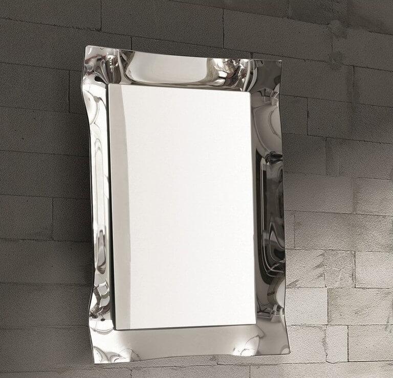 Specchio moderno da parete con cornice argento ebay for Specchio argento moderno