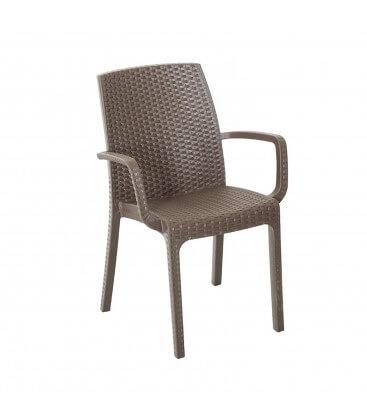 Sedia con braccioli impilabile effetto rattan in poliuretano per giardino