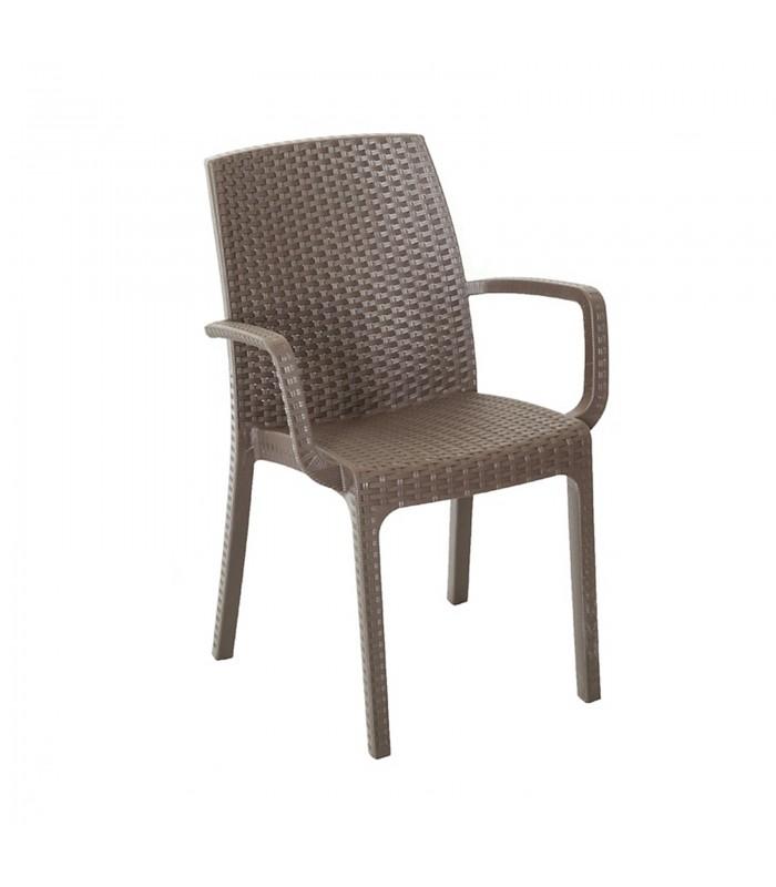 Sedia con braccioli da giardino impilabile effetto rattan in polipropilene per esterni - Sedie da giardino rattan ...