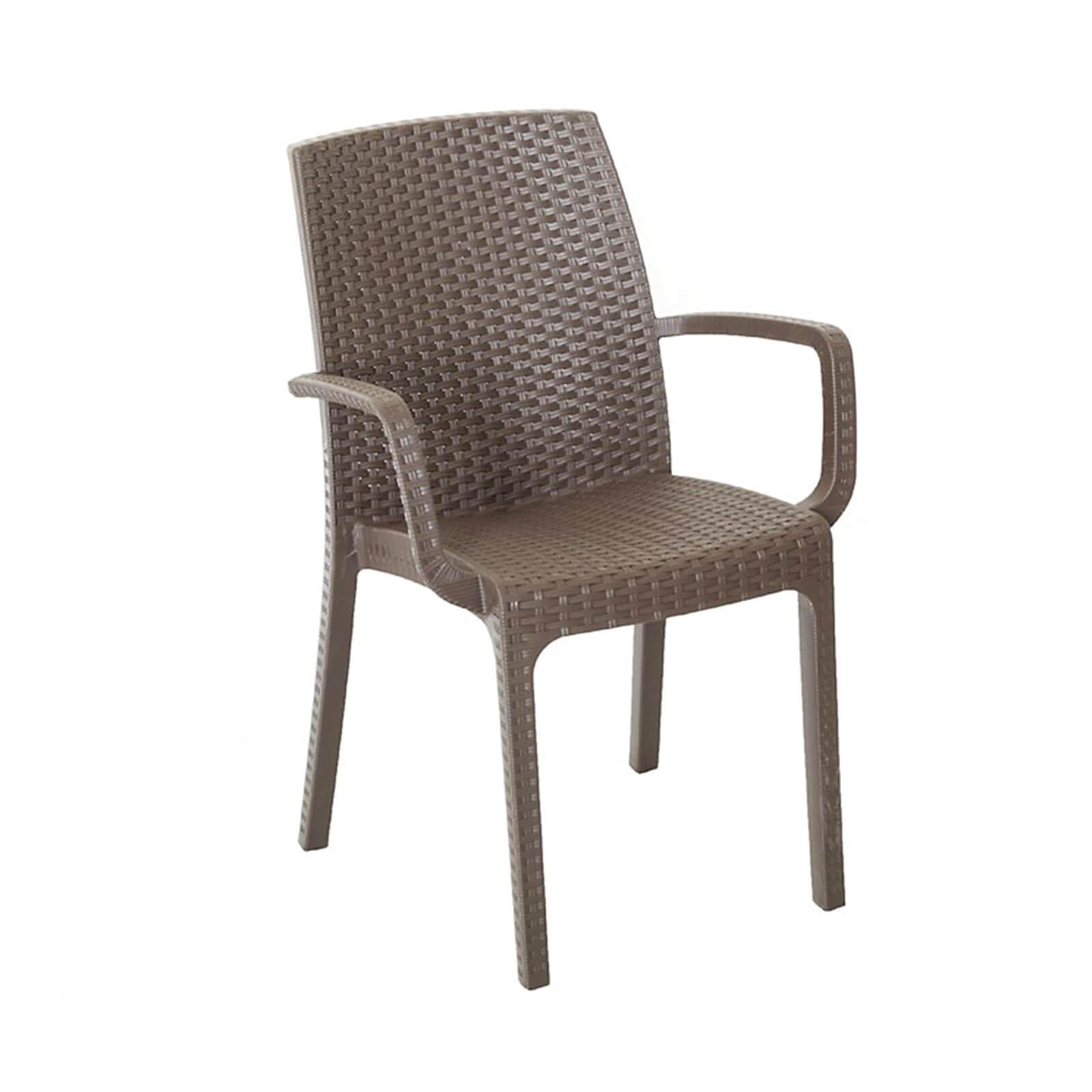 elegant sedia con braccioli impilabile effetto rattan in poliuretano per giardino with tavoli e se in rattan