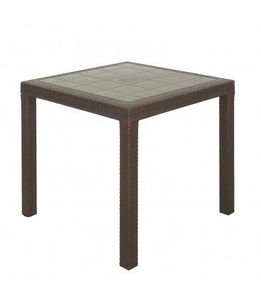 Tavolo quadrato effetto rattan da esterno