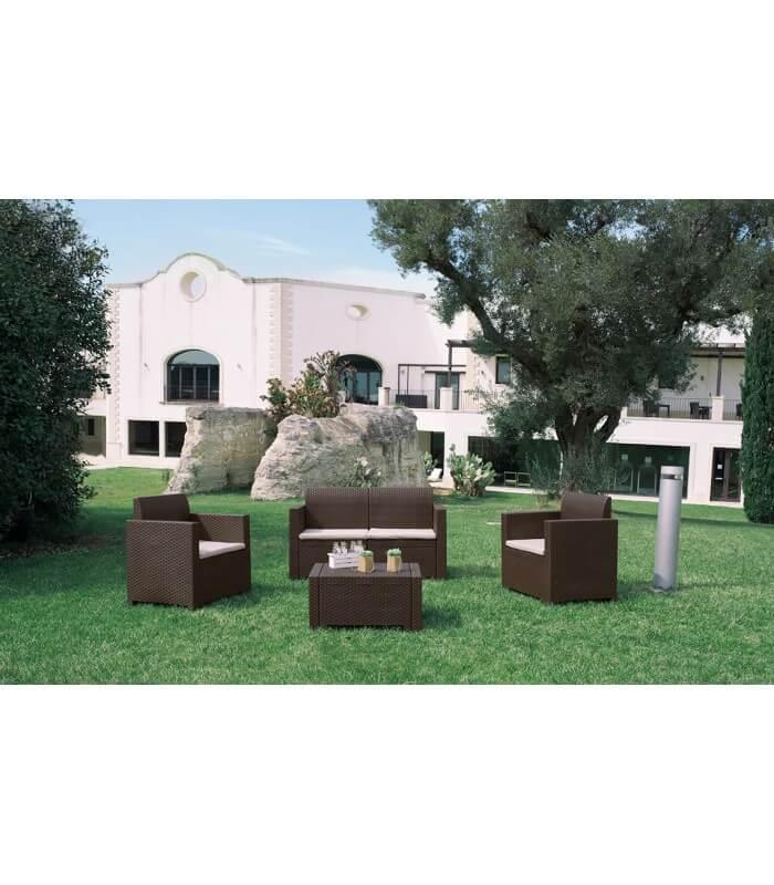 Salotto set sof per esterno effetto rattan in polipropilene 4 posti tavolino - Salottini per esterno ...