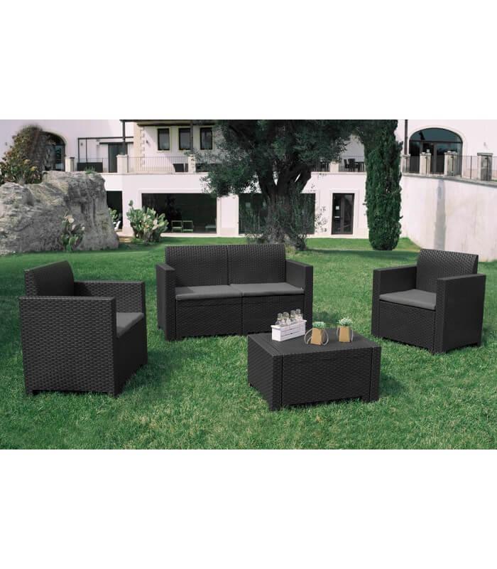 Salotto set sof per esterno effetto rattan in for Salottini esterno