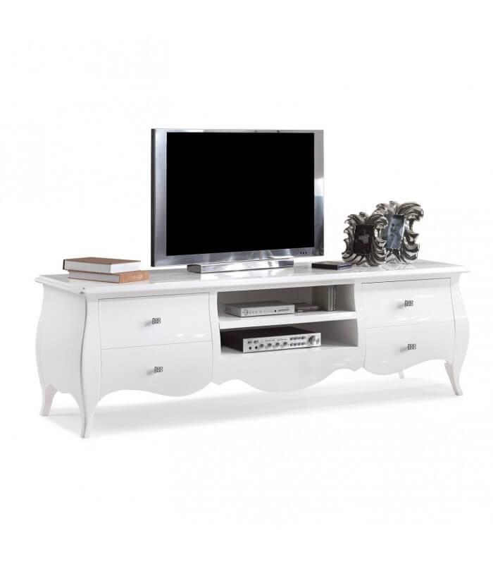Mobile porta tv bombato laccato noce bianco avorio - Pareti attrezzate porta tv ...