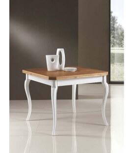 Tavolo in legno a libro con piede a sciabola