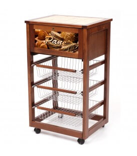 Carrello da cucina portapane in legno
