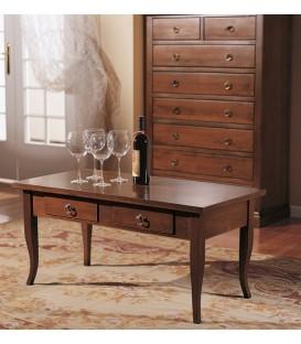 Tavolino da salotto in legno con 2 cassetti