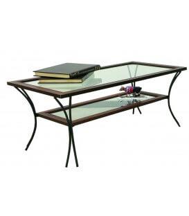 Tavolino da Salotto in Legno con Piedi in Ferro Battuto Ripiani in Vetro