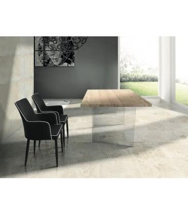 Tavolo rovere con base in vetro