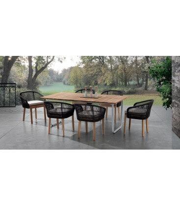 Tavolo per esterno con piano in teak yukon
