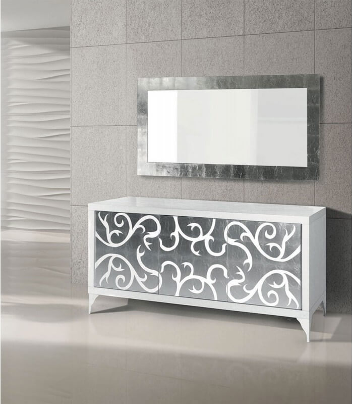 Specchio da parete moderno foglia argento spazio casa - Specchi da arredo moderni ...