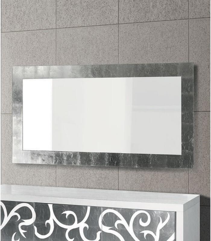Specchio da parete moderno foglia argento - Spazio Casa