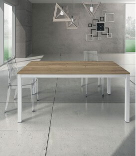 Tavolo rovere nodato con struttura in metallo