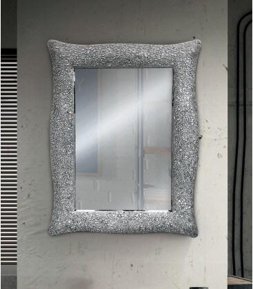 specchio con cornice ondulata argento effetto mosaico ForSpecchio Cornice Argento