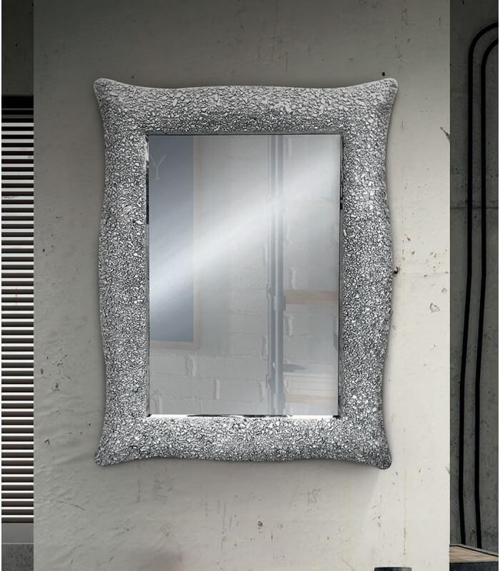 Specchio con cornice ondulata argento effetto mosaico - Specchio con cornice in gesso ...
