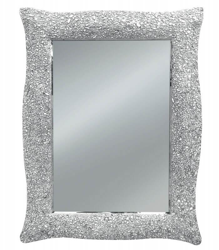Specchio con Cornice Ondulata Argento Effetto Mosaico