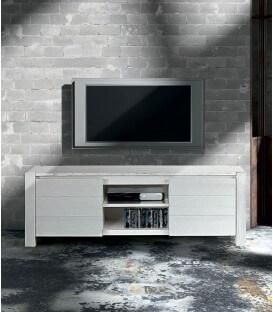 Porta TV moderno in Abete Bianco Spazzolato