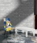 Tavolino Basso Rettangolare in Abete Bianco Spazzolato