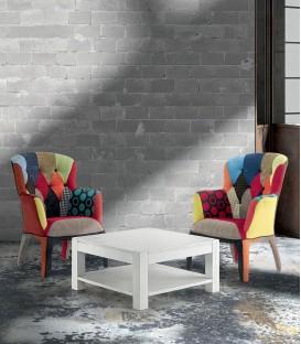 Tavolino da Salotto Quadrato in Abete Bianco Spazzolato