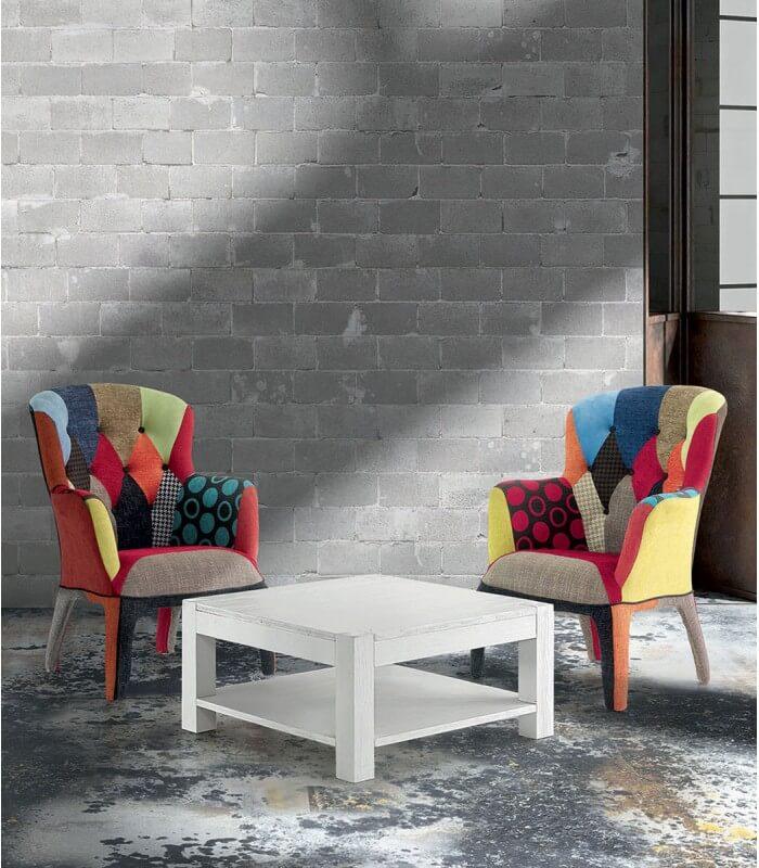 Tavolino Salotto Quadrato in Abete Bianco Spazzolato