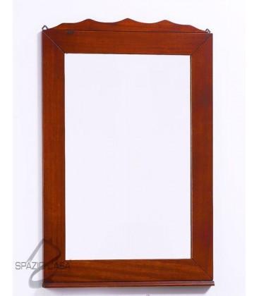 Specchio in legno con corona - Noce