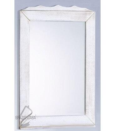 Specchio in legno con corona - Bianco decò