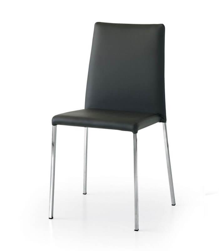 Sedie Moderne Pelle E Acciaio.Sedia Lucy Seduta Imbottita In Ecopelle E Piedi In Acciaio