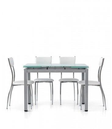 Tavolo rettangolare con piano in vetro allungabile