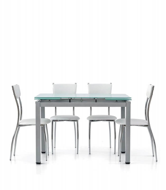 Tavolo rettangolare con piano in vetro allungabile for Piani moderni in vetro
