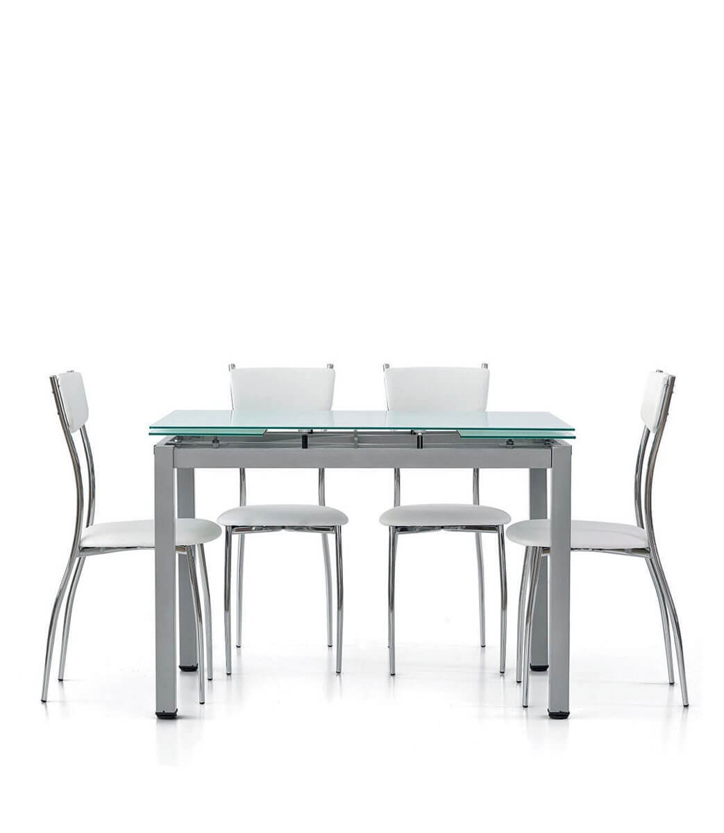 Tavolo rettangolare con piano in vetro allungabile for Tavolo da cucina allungabile rettangolare