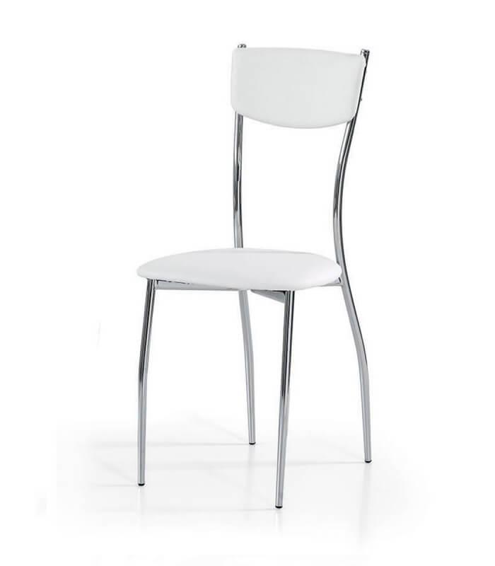 Sedie Acciaio E Plastica.Sedia Da Cucina In Acciaio Cromato Seduta E Schienale Ecopelle