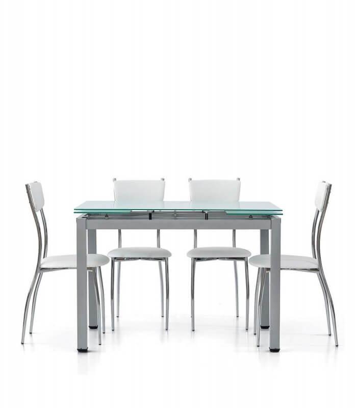 Sedia da cucina in acciaio cromato seduta e schienale ecopelle for Tavoli rettangolari moderni
