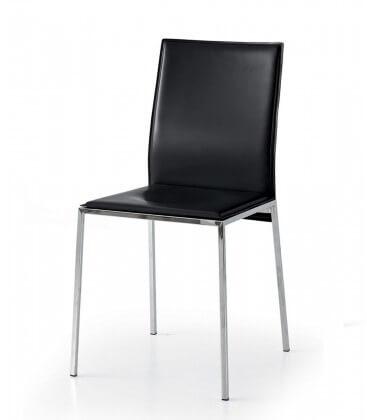 Sedia moderna in ecopelle con telaio in acciaio cromato