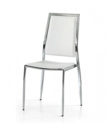 Sedia con telaio in acciaio cromato ed ecopelle bianca