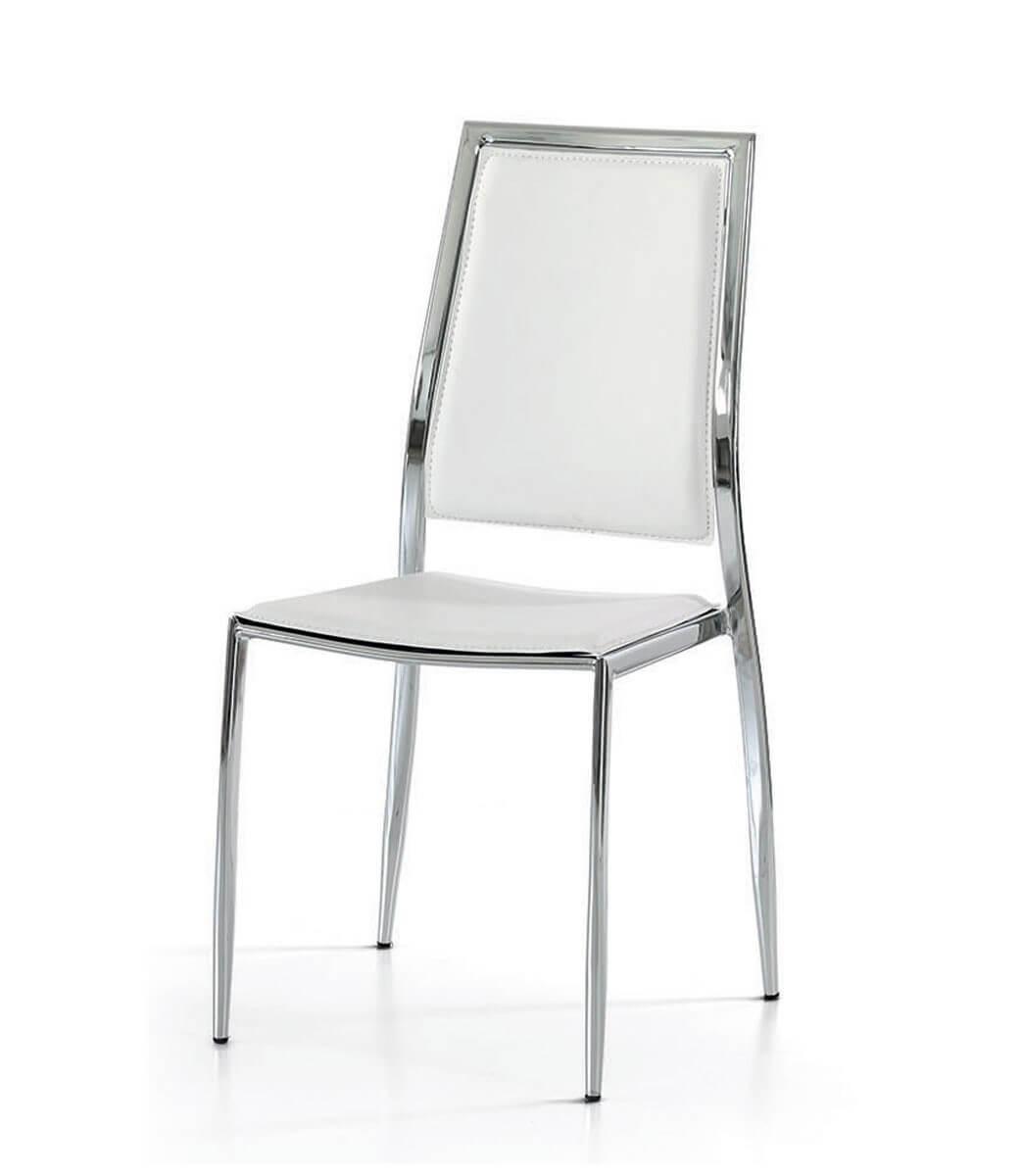Sedia con telaio in acciaio cromato ed ecopelle bianca for Sedie nere ecopelle