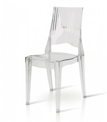 Sedia moderna in policarbonato trasparente