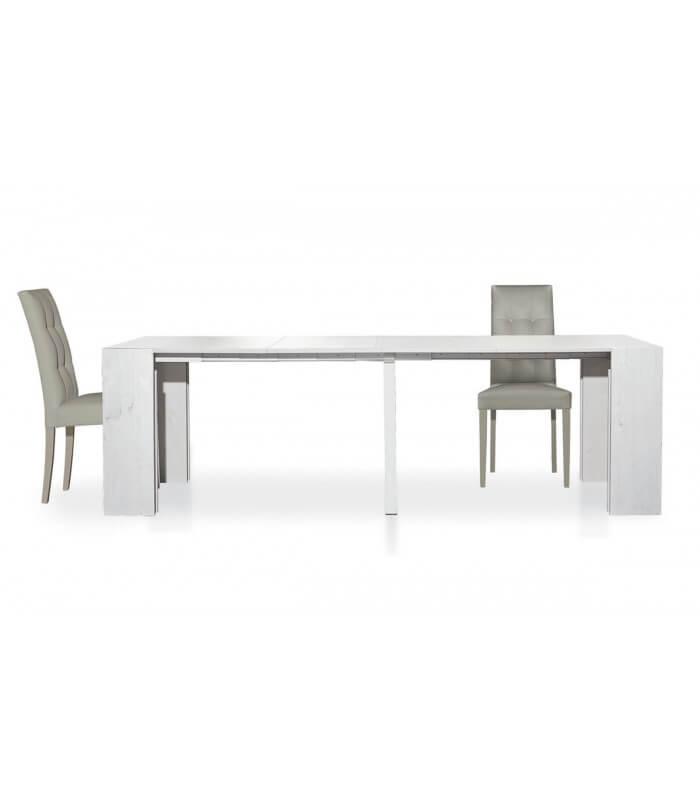 Consolle tavolo legno bianco consumato allungabile for Tavolo bianco legno
