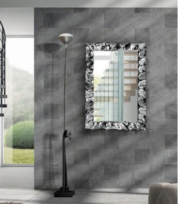 Specchiera con cornice moderna effetto argento