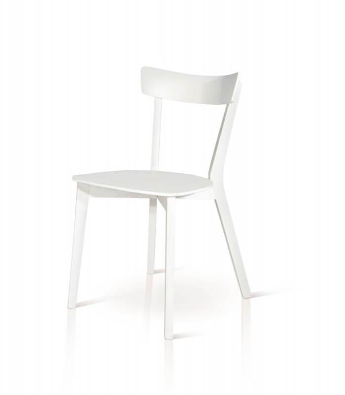 Sedia minimal da cucina in legno bianco spazio casa - Cucina legno bianco ...