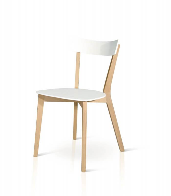 Sedia minimal da cucina in legno bianco