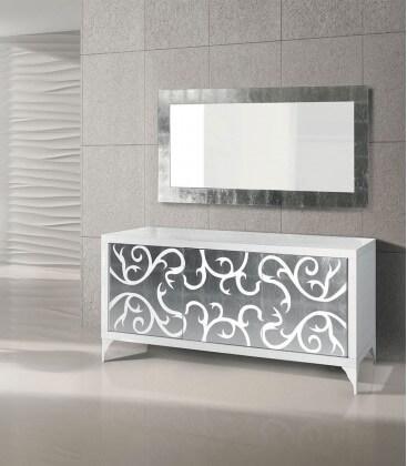 Credenza moderna in Legno bianca e argento - Spazio Casa