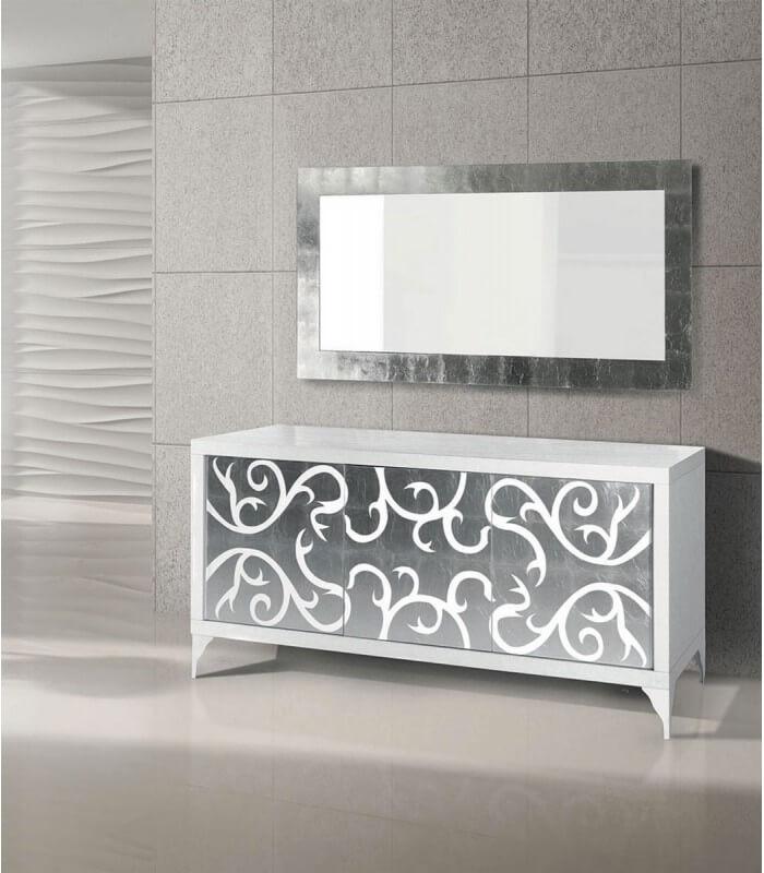 Arredamento Casa Moderna Bianca.Credenza Moderna In Legno Bianca E Argento Spazio Casa