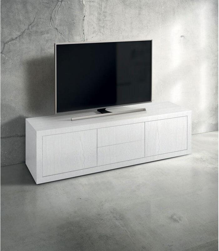 Porta TV Moderno in Legno bianco frassinato - Spazio Casa