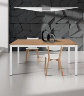 Tavolo quadrato moderno bianco e rovere