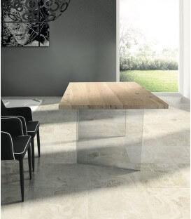 Tavolo moderno in Rovere con gambe in vetro