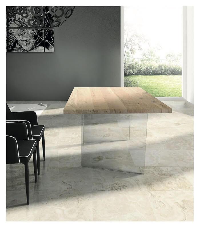Tavolo moderno in Rovere con gambe in vetro - Spazio Casa