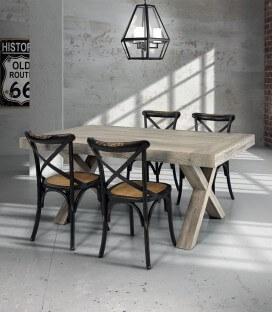 Tavolo in legno invecchiato piedi a X