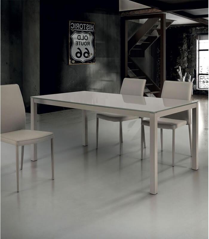 Tavolo allungabile in vetro color tortora - Spazio Casa