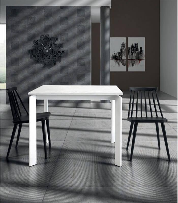 Tavolo Quadrato Allungabile Bianco.Tavolo Quadrato Allungabile Bianco Frassinato Spazio Casa